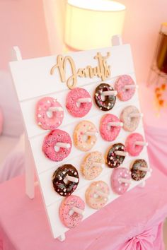 Spa Day Birthday Party Donut Board from a Spa Day Birthday Party on Kara's Party Ideas Donut Party, Cupcake Party, Sleepover Birthday Parties, 18 Birthday Party Decorations, 18th Birthday Party Ideas For Girls, Bachelorette Parties, Kids Birthday Party Ideas, Mean Girls Party, Barbie Birthday Party