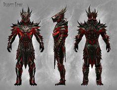 Concept art of Daedric Armor from The Elder Scrolls V: Skyrim by Ray Lederer Elder Scrolls V Skyrim, Elder Scrolls Online, Skyrim Concept Art, Armor Concept, Fantasy Armor, Dark Fantasy Art, Daedric Armor, Sith Armor, Mandalorian Armor