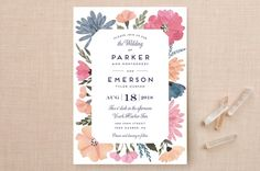 """Romantic Watercolor Flora"" - Floral & Botanical Wedding Invitations in Dhalia by Petra Kern."