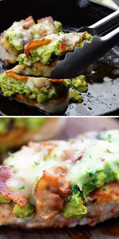 Low carb dinner: guacamole chicken with cheese and bacon! #keto #chicken #lowcarb #guacamole #recipe