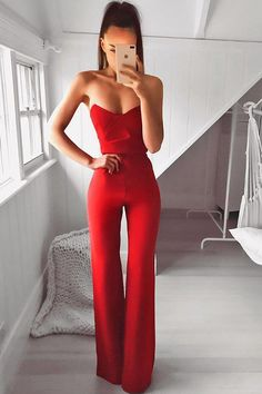 Bisous Formal Jumpsuit in Red by Nookie - Red Dresses - Ideas of Red Dresses The Effective Pictures We Offer You About REd dress hijab A q Prom Outfits, Classy Outfits, Chic Outfits, Trendy Outfits, Dress Outfits, Fashion Dresses, Red Fashion Outfits, Pink Blazer Outfits, Dress Shoes