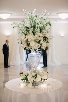 Tall Flower Arrangement With Ivory Roses And Delphiniums Wedding Reception Centerpieces Pinterest Arrangements