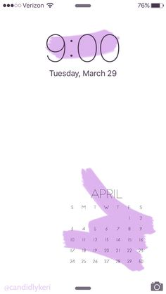Pastel Purple Paint wallpaper background with April 2016 calendar free download mobile, iphone, android and desktop