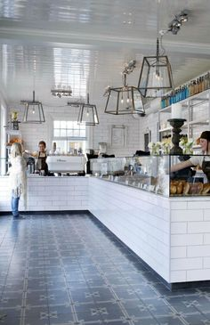 Glass lighting and patterened tiling at United Bakeries | Oslo, Norway
