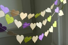 Purple and Olive Green Kraft Heart Garland . Fall Wedding Decorations . Rustic Country Wedding Decor on Etsy, $10.00