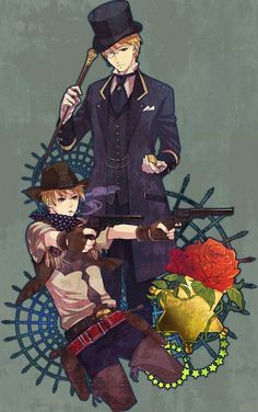 Usually, we see Arthur as the proper Victorian gentleman and Alfred as the Wild West cowboy. But in this picture, it's the other way around - definitely a neat twist on things. :) - Art by Mushi Kei