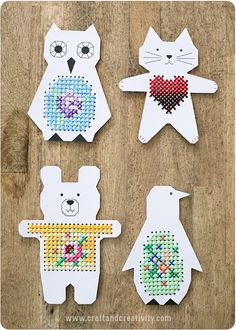 61 Trendy sewing for beginners teaching for kids Cross Stitch For Kids, Cross Stitch Cards, Cross Stitch Animals, Cross Stitching, Cross Stitch Embroidery, Paper Animal Crafts, Paper Animals, Paper Crafts, Sewing Projects For Kids