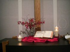 Idea: An open book in a seasonal centerpiece, or an open Bible in decor for living the liturgical year at home. Hmmm...