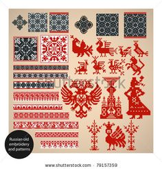 Folk Embroidery Patterns Russian old embroidery and patterns by Laralova, via Dreamstime - Russian Embroidery, Folk Embroidery, Cross Stitch Embroidery, Hand Embroidery Tutorial, Hand Embroidery Designs, Embroidery Patterns, Cross Stitch Bird, Cross Stitch Borders, Cross Stitch Patterns