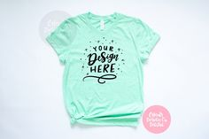 Bella Canvas 3001 Heather Prism Mint Unisex T-Shirt Mockup - Styled Photography for SVG Files and Clipart Flat Lay Photos, Flatlay Styling, Shirt Mockup, Bella Canvas, Hand Lettering, Your Design, Fashion Photography, Mint, Clip Art