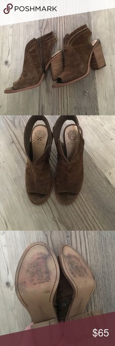"""Vince Camuto open toe """"Koral"""" booties Vince Camuto open toe booties. Size 9.5. Gorgeous suede with side zip. Reposh-purchased from owner who had worn them once. I am selling them as they are too big for me and I wasn't able to wear them 😟 soo cute but too big. Vince Camuto Shoes"""