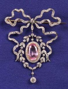 Edwardian Diamond and Pink Topaz Brooch