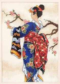 geisha with apple blossoms