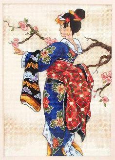geisha with apple blossoms