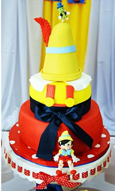 Amazing cake at a Pinocchio birthday party! See more party ideas at CatchMyParty.com!
