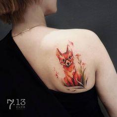 Adorable Fox Tattoo by coosomno