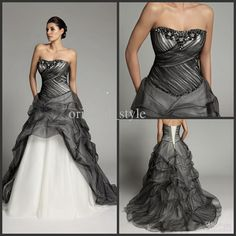 Wholesale Christmas Strapless Black White Color Accented Bridal Gowns Pleat Beads Sequin Wedding prom dresses, $147.73/Piece | DHgate