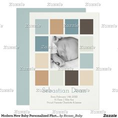 Modern New Baby Personalized Photo Template Announcement Card from Ricaso