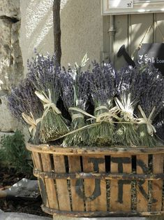 Lavender. -FleaingFrance Oh my!  Such a pretty display!  Love that basket.