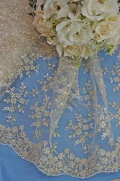 """Lt Ivory Gold Metallic Bridal Lace Fabric Sold Priced by The 1 2 Yard 52"""" Wide 