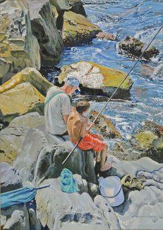 More Bait Granpa by Graham Clark, Oils on board