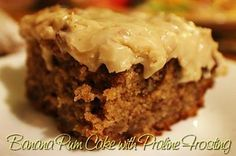 Banana Rum Cake with Praline Frosting  http://www.momspantrykitchen.com/banana-rum-cake-with-praline-frosting.html
