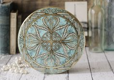 Vintage Large Round Turquoise and Gold Daher Tin - Made in England - circa 1950's. $36.00, via Etsy.