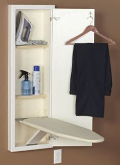 Household Essentials StowAway In-Wall Ironing Board Cabinet with Built In Ironing Board - White Small Laundry Rooms, Laundry Room Storage, Laundry Room Design, Storage Shelves, Iron Storage, Laundry Closet, Small Shelves, Laundry Area, Ironing Board Storage