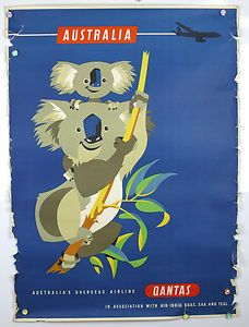Posting from Adelaide in Australia, here's one of many great vintage QUANTAS travel posters by Harry Rogers . I got to hold a koala myself. Old Poster, Poster Ads, Pub Vintage, Photo Vintage, Travel Ads, Airline Travel, Travel Photos, Posters Australia, Australian Vintage