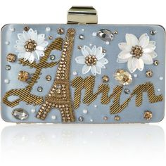 Lanvin Sea Breeze embellished satin box clutch (1.995 BRL) ❤ liked on Polyvore featuring bags, handbags, clutches, lanvin, purses, snake handbags, blue hand bag, snake purse, lanvin handbags and flower purse