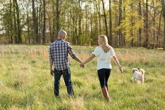 beautiful outdoor engagement of Chris + Michelle and their dog Harley! Photography by Susie