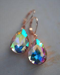 Aurora Borealis Rose Gold Wedding Jewelry Crystal by NotOneSparrow