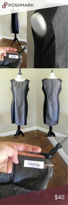 Calvin Klein Two Tone Dress Size 12 EUC Calvin Klein Black and Grey Two Tone Dress Women's Size 12. The Gray portion is like a light denim looking material while the slimming black sides are a stretchy cotton. Zipper is on the back. My loss is your gain. This dress is Super Flattering! 💗  Bundle 2+ items to save 20% on your order Calvin Klein Dresses