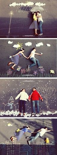 Sidewalk Chalk photography - perfect for engagement photos or wedding photos to display at the reception Chalk Photography, Creative Photography, Funny Photography, Photography Couples, Photography Portfolio, Travel Photography, Photo Illusion, Illusion Photos, Wedding Photographie