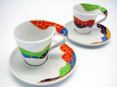 White Porcelain coffee set - Juego de café pintado a mano - Gaudí #Souvenir #barcelona #beautiful