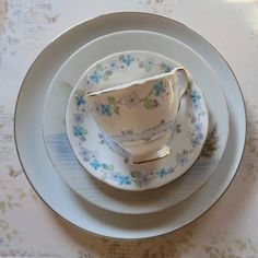 Something Old Something Blue for the Bride!  Vintage Mismatched Bone China Set Four Pieces With by MiladyLinden