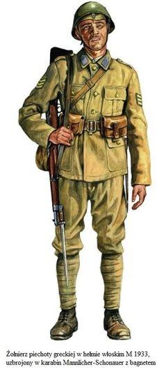 Esercito Greco - Sottufficiale di Fanteria armato con carabina Mannlicher-Shonauer e baionetta.