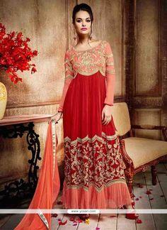 Captivating Red Embroidered Work Georgette Anarkali Salwar Kameez Model: YOS6616