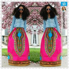 Pata Pata Dashiki Maxi Skirt with Pockets and by RegalClothes