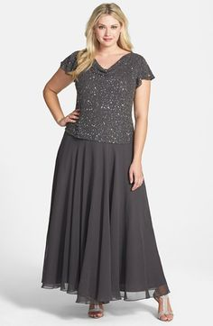 Free shipping and returns on J Kara Embellished Mock Two-Piece Gown (Plus Size) at Nordstrom.com. A drapey cowl neckline and fluttering cap sleeves shape the shimmering, embellished bodice of an elegant gown ending in an A-line chiffon skirt.