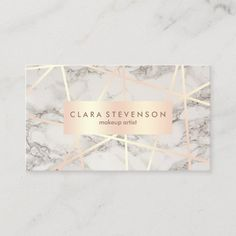 Shop Modern rose gold & white marble makeup artist business card created by Elipsa. Beauty Business Cards, Salon Business Cards, Hairstylist Business Cards, Makeup Artist Business Cards, Business Card Size, Business Card Design, Hair Stylist Gifts, Create Your Own Business, Business Hairstyles