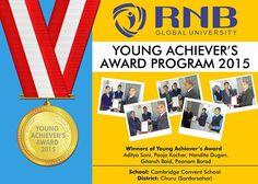 Aditya Soni Pooja Kochar Nandita Dugan Gitansh Baid Poonam Borad are the Winners of Young Achievers Award 2015 of Cambridge Convent School from Churu (Sardarsahar) #RNBGU