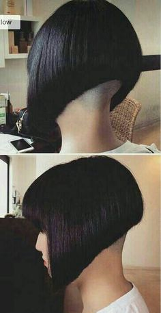 Gorgeous undercut angled bob with nape buzzed to the skin. Could you rock this style? Shaved Bob, Shaved Nape, Trending Hairstyles, Short Bob Hairstyles, Cool Hairstyles, Angled Bobs, Inverted Bob, Stacked Bobs, Shaggy Bob Haircut