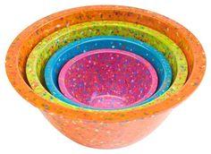 Zak! Designs Confetti Mixing Bowls (Set of 4), Assorted Brights - casa.com