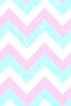Pink, blue, and white chevron wallpaper pattern.