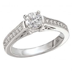 Complete Diamond Ring $4,476 Style: 116062-050C Diamond Ring in 14kt White Gold with Milgrain Detail. (D 3/4 carat total weight includes D 1/2 carat round center stone). 2 Carat, Halo Diamond, White Gold, Romance, Wedding Rings, Engagement Rings, Bridal, Stone, Detail