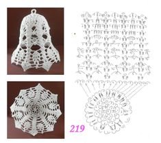 Pin by Marta Juszczyk on szydelko Crochet Christmas Ornaments, Christmas Crochet Patterns, Crochet Doily Patterns, Christmas Bells, Crochet Motif, Crochet Doilies, Christmas Crafts, Crochet Angels, Crochet Stars