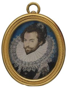 Portrait de Sir Walter Ralegh par Nicholas Hilliard aquarelle sur velin, vers 1585, 48 mm x 41 mm,  Londres : National Portrait Gallery