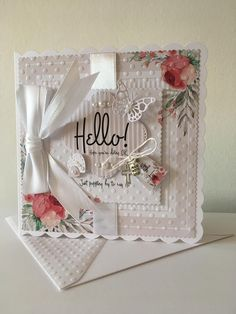 Birthday Cards For Women, Embossed Cards, Square Card, Rubber Stamping, Shabby Vintage, Pretty Cards, Cool Cards, Flower Cards, Homemade Cards