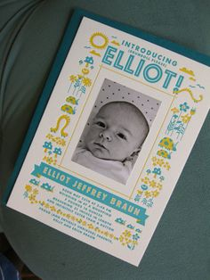 Birth announcement for Elliot (the latest H!L baby) by our very own Miss Anna Hurley!
